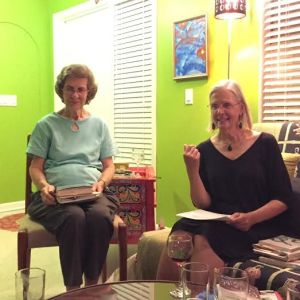 book club meeting with Jean Sparks and Susan Feathes